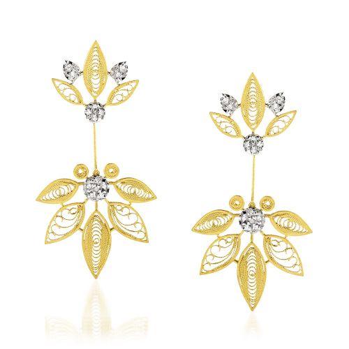 Luisa Rosas Ohrringe Gold mit Diamanten House of Filigree Ohrhänger HBR5509.AD