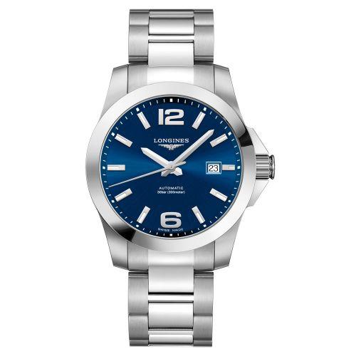 Longines Conquest Automatik 41mm mit blauem Zifferblatt & Edelstahl-Armband Herrenuhr L3.777.4.99.6