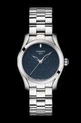 Tissot T-Wave Damenuhr Silber mit blauem Zifferblatt & Edelstahl-Armband 30mm Quarz T112.210.11.041.00