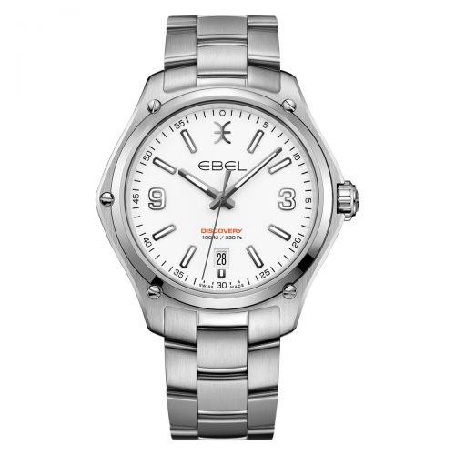 Ebel Discovery Herrenuhr Silber Weiß Edelstahl-Armband 41mm Quarz 1216399