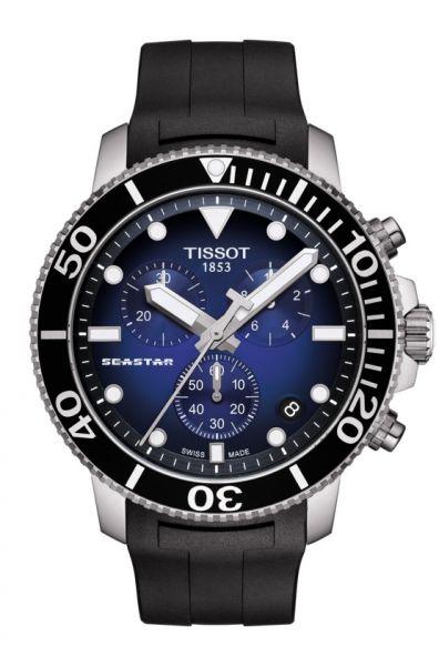 Tissot Seastar 1000 Chronograph 45mm Schwarz Blau Kautschuk-Armband Quarz Taucheruhr T120.417.17.041.00 | Uhren-Lounge