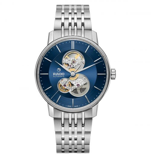 Rado Coupole Classic Open Heart Automatic Herrenuhr XL Blau Silber Edelstahl-Armband R22894203
