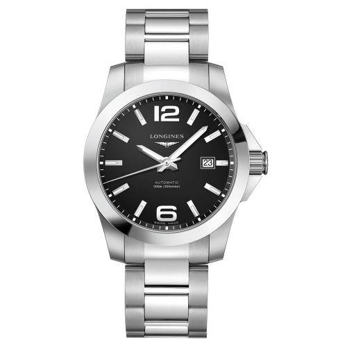Longines Conquest Automatik 41mm mit schwarzem Zifferblatt Edelstahl-Armband Herrenuhr L3.777.4.58.6