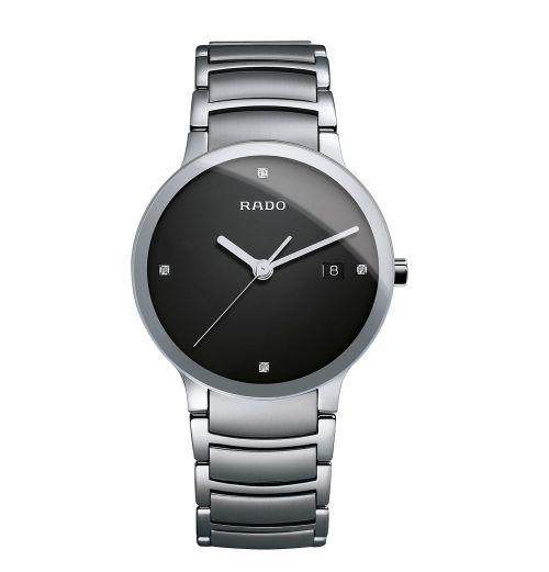 Rado Centrix Diamonds L Herrenuhr Silber Schwarz Diamanten Edelstahl-Armband 38mm Quarz R30927713
