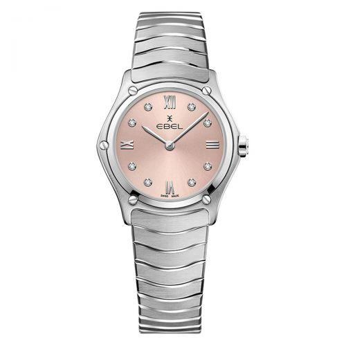 Ebel Sport Classic Lady Damenuhr Silber Pink Rosa mit Diamanten 29mm Quarz 1216444A