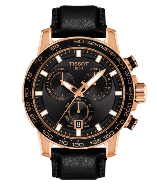 Tissot Supersport Chrono Rosegold Schwarz Leder-Armband Chronograph 45mm Quarz T125.617.36.051.00 | Uhren-Lounge