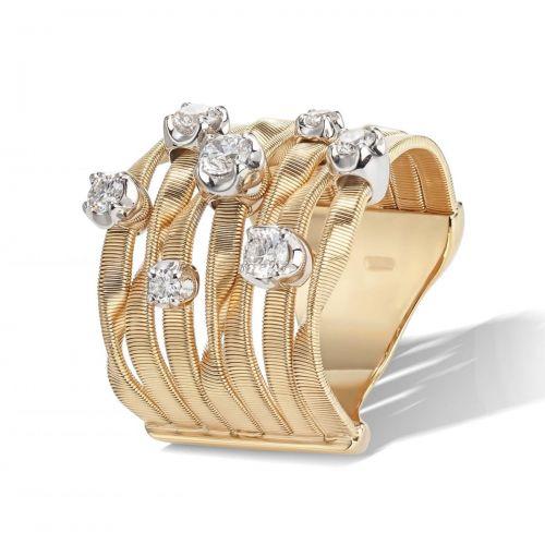 Marco Bicego Marrakech Couture Ring Gold mit Diamanten 7 Stränge AG156 B3 YW