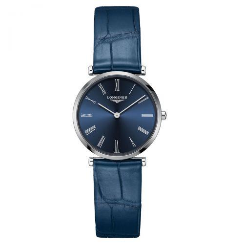 Longines La Grande Classique Damenuhr Blau Leder-Armband Quarz 29mm L4.512.4.94.2