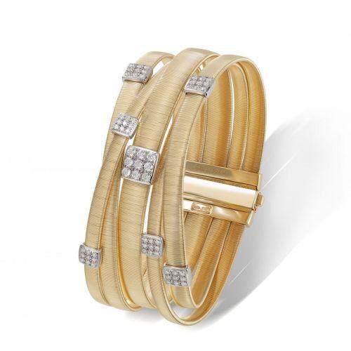 Marco Bicego Masai Armband Gold 18 Karat mit Diamanten Pave 5 Stränge BG734 B YW