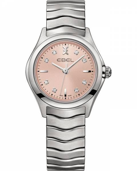 Ebel Damenuhr silber mit rosa Zifferblatt mit 8 Diamanten Edelstahl-Armband Quarz Wave Lady 1216217