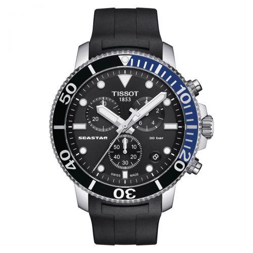 Tissot Seastar 1000 Quartz Chronograph Schwarz Blau 45mm Kautschuk-Armband Taucheruhr T120.417.17.051.02