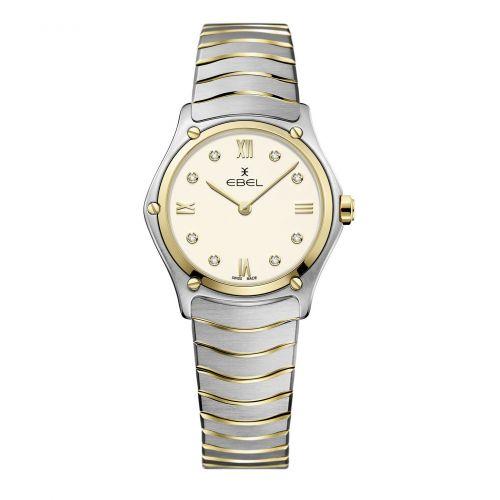 Ebel Sport Classic Lady Elfenbein Zifferblatt mit Diamanten Bicolor 29mm Damenuhr 1216418A | Uhren-Lounge