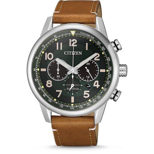 Citizen Eco Drive Chronograph 43mm Silber Grün Leder-Armband Solaruhr CA4420-21X | Uhren-Lounge