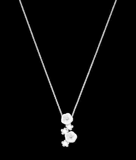 Meissen Collier Halskette 5 Blüten Porzellan Weißgold 1739 Royal Blossom MPJ20BL286C45