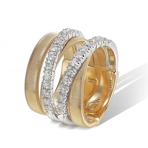 Marco Bicego Ring Masai Gold Bicolor mit Diamanten 5 Stränge AG331 B YW