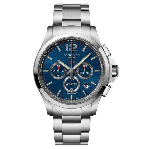 Longines Conquest VHP Chronograph Quarz 44mm Silber Blau Edelstahl-Armband Herrenuhr L37274966