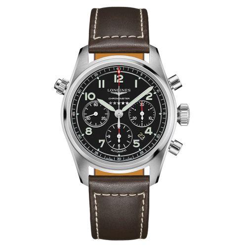 Longines Spirit Chronograph Automatic Schwarz Leder-Armband Herrenuhr 42mm L3.820.4.53.0   Uhren-Lounge