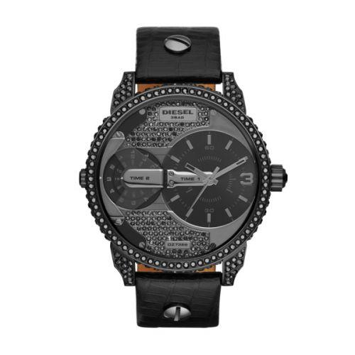 Diesel Damenuhr schwarz 46mm Zifferblatt schwarz mit Glassteinen Leder-Band Mini Daddy DZ7328 | Uhren-Lounge