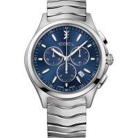 Ebel Uhr Herren Chronograph 42mm silber mit blauen Zifferblatt & Edelstahl-Armband Quarz Wave Gent 1216344