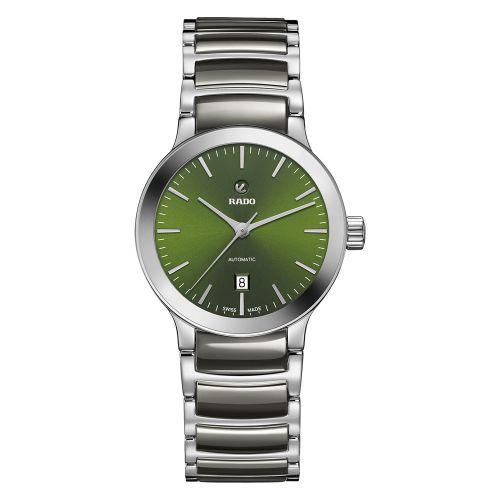 Rado Centrix Automatic Damenuhr mit grünem Zifferblatt & grauem Keramik-Armband 28mm R30011312 | Uhren-Lounge