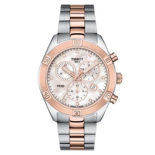 Tissot PR 100 Sport Chic Lady Chronograph T101.917.22.116.00 Damenuhr mit Diamanten Bicolor Roségold 38mm