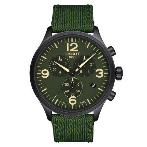 Tissot Chrono XL Grün Textil-Armband Herrenuhr Chronograph Quarz 45mm T116.617.37.097.00