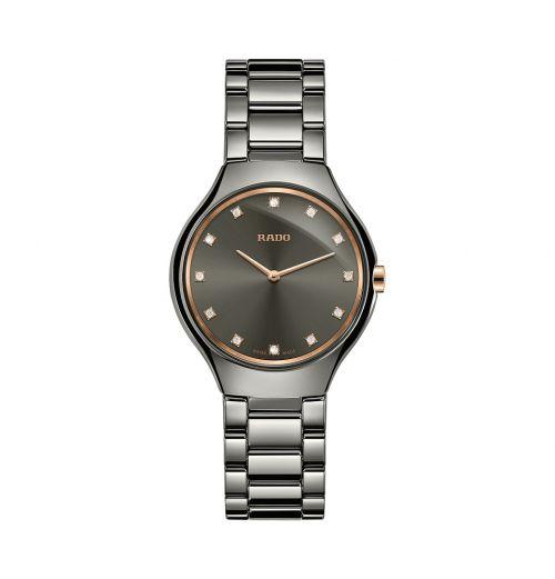 Rado True Thinline Diamonds Jubile S 30mm Grau Damenuhr mit Diamanten Quarz R27956722 | Uhren-Lounge