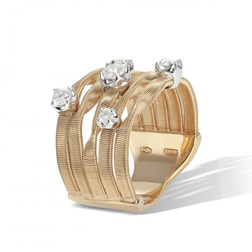Marco Bicego Marrakech Couture Ring Gold mit Diamanten 5 Stränge AG157 B7 YW