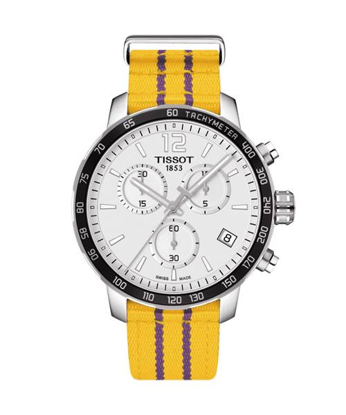 Tissot Quickster LA Lakers NBA Herrenuhr 42mm Zifferblatt weiß Textil-Armband Gelb T095.417.17.037.05