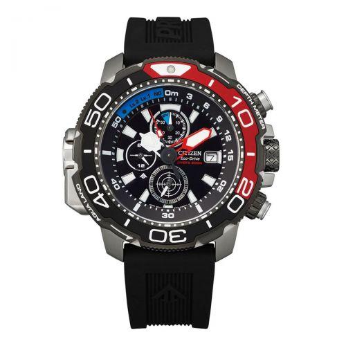 Citizen Promaster Marine Diver Eco-Drive Taucheruhr Chronograph 47mm Schwarz Rot Gummband BJ2167-03E