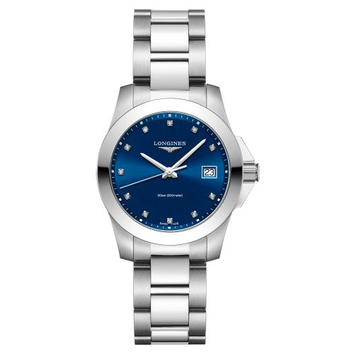 Longines Conquest Damenuhr mit Diamanten Silber Blau 34mm Quarz L3.377.4.97.6