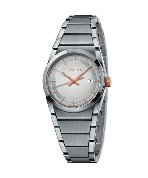 Calvin Klein Damenuhr  Edelstahl silber Krone, Zeiger & Indizes Rosegold Quarz 30mm | Uhren-Lounge