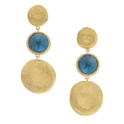 Marco Bicego Ohrringe Jaipur mit blauen London Topas Edelsteinen Gold 18 Karat OB1576-TPL01-Y