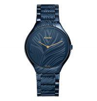 Rado True Thinline My Bird Limited Edition Uhr Damen Herren Keramik Blau Quarz 39mm R27014152