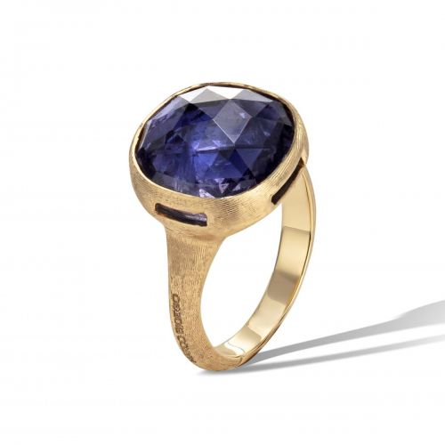 Marco Bicego Jaipur Color Ring mit blauem Iolit Edelstein Gold 18 Karat AB617 IO01 Y