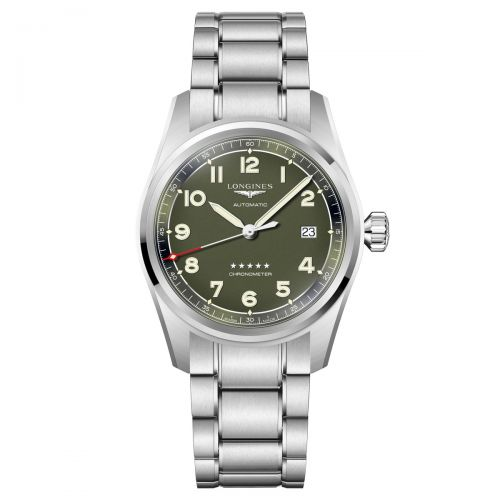 Longines Spirit 40mm Grün Edelstahl-Armband Herrenuhr Automatik Chronometer L3.810.4.03.6