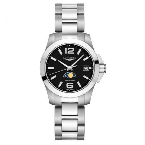 Longines Conquest Mondphase Damenuhr 34mm Schwarz Edelstahl-Armband Quarz L3.381.4.58.6