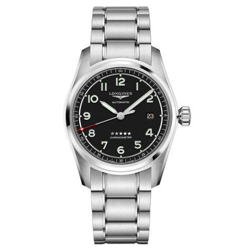 Longines Spirit Automatic Chronometer 40mm Silber Schwarz Edelstahl-Armband Herrenuhr L3.810.4.53.6