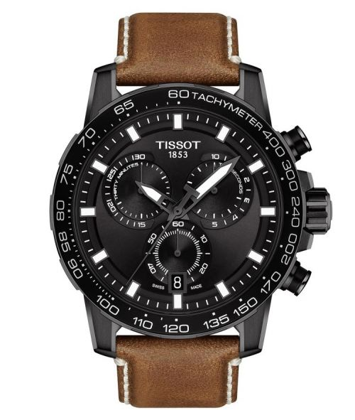 Tissot Supersport Chrono Schwarz Leder-Armband Braun 45mm Quartz T125.617.36.051.01 | Uhren-Lounge