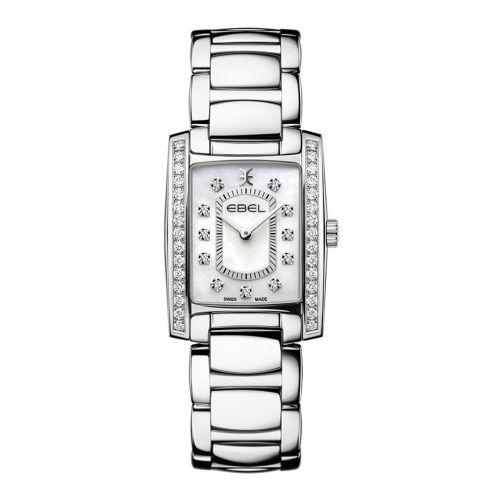 Ebel Uhr Damen mit Diamanten eckig weißes Perlmutt-Zifferblatt silbernes Edelstahl polished Quarz Brasilia Lady Mini 1216463 | Uhren-Lounge