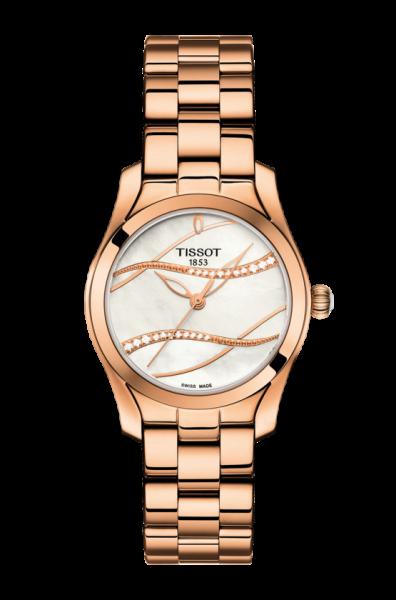 Tissot T-Wave Damenuhr Rosegold Perlmutt-Zifferblatt mit Diamanten 30mm Quarz T112.210.33.111.00