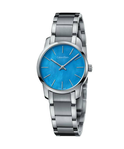 Calvin Klein Damenuhr silber blau Perlmutt Zifferblatt Edelstahl-Armband city lady extension K2G2314X | Uhren-Lounge