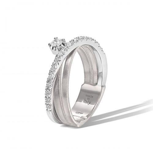 Marco Bicego Goa Ring Weißgold mit Diamanten 3 Stränge AG314-B B1 W