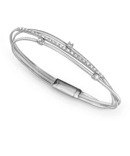 Marco Bicego Armreif Goa Weißgold mit Diamanten 3 Stränge Armband BG617 B2 W