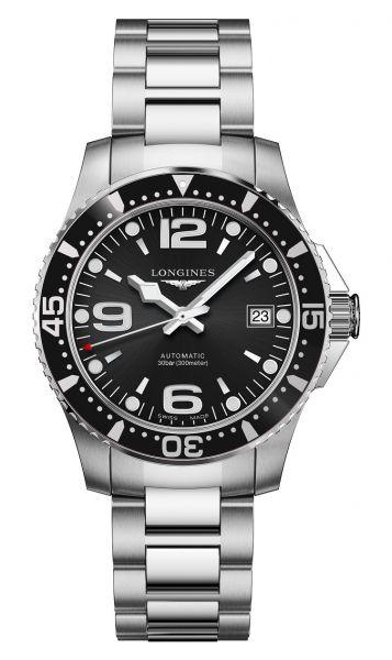 Longines HydroConquest 39mm Schwarz Automatik Edelstahl-Armband Herrenuhr L3.741.4.56.6 | Uhren-Lounge