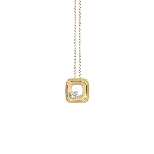 Annamaria Cammilli Damen Halskette DUNE aus 750er Gold mit 1 Diamant 0,15ct im Brillant-Schliff GPE2426U