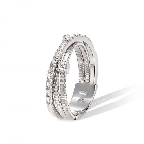 Marco Bicego Ring Weißgold mit Diamanten 3 Stränge Goa AG269 B2 W
