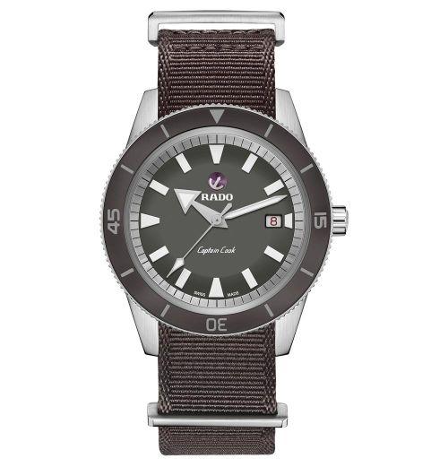 Rado Captain Cook Automatic 42mm Grau Textil-Armband Herrenuhr R32505016