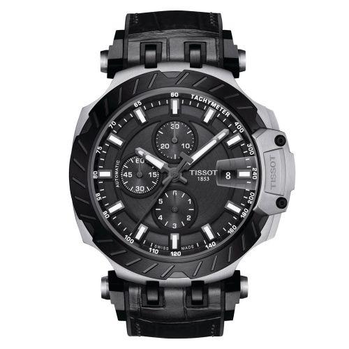 Tissot T-Race Automatic Chronograph Schwarz Kautschuk-Leder-Armband Herrenuhr 45mm T115.427.27.061.00
