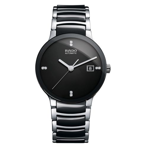 Rado Centrix Automatic Diamonds L Jubile Herrenuhr Silber Schwarz 38mm Keramik-Armband R30941702
